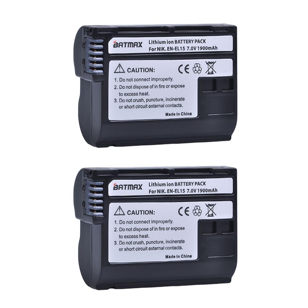 Batmax 1900mAh EN-EL15 ENEL15 EN EL15 Decoded Camera Battery for Nikon DSLR D600 D610 D800 D800E D810 D7000 D7100 D7200 V1