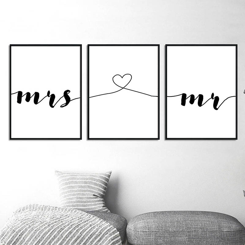 Minimalist Mr Mrs Romantic Family Quotes Wall Art Canvas Poster Nordic Print Painting Wall Picture For Living Room Home Decor Buy At The Price Of 3 73 In Aliexpress Com Imall Com