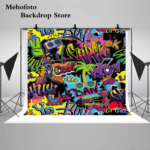 US $13 5 |Mehofoto Graffiti Wall Photo Background Backdrops 80s Birthday  90's Hip Hop Backdrop for Photography Theme Party G 428-in Background from