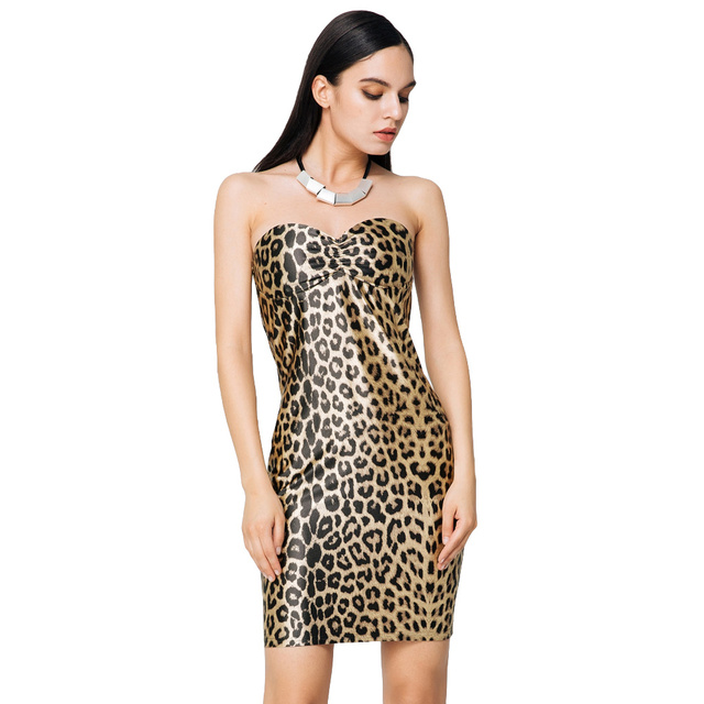 35f6e1961f12 Sexy Leopard Print Club Party Dresses 2019 Women Strapless Gold Mini Dress  Padded Cups Bodycon Dress Zipper Back Slim Clubwear