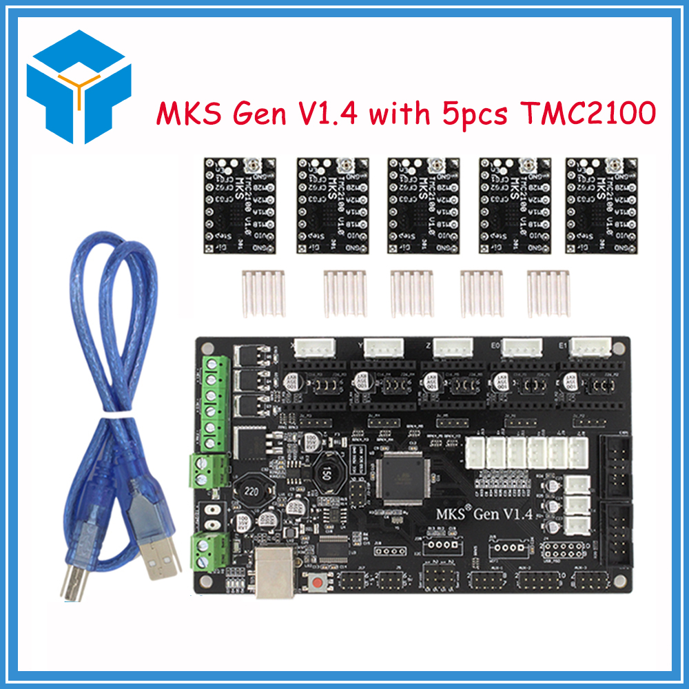 3d materinskaya plata MKS Gen V1.4 3D printer kit with MKS Gen V1.4 RepRap board 5PCS TMC2100 Driver USB 3D printer part parts latest mks gen v1 4 control board mega 2560 r3 motherboard reprap ramps1 4 compatible with usb and 5pcs tmc2100 3d printer
