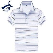 Business   Casual Listrado Camisa Pólo Homens Roupas 2018 Marca Tace   Shark  polos hombre parágrafo 3d1a93cf07e44