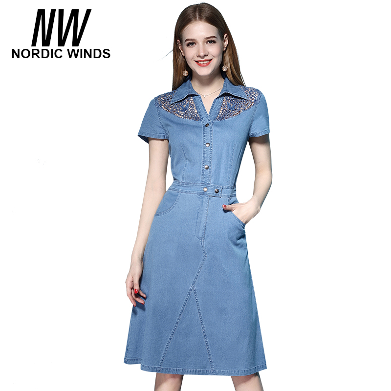 Casual Lace Short Sleeve Denim Dress 2017 Summer Wo