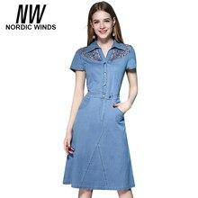 Ventos nórdicos Doce Laço de Manga Curta Vestido Denim Verão 2017 Roupas de algodão Cowboy Escavar Jeans Mulheres Vestidos Plus Size 4XL