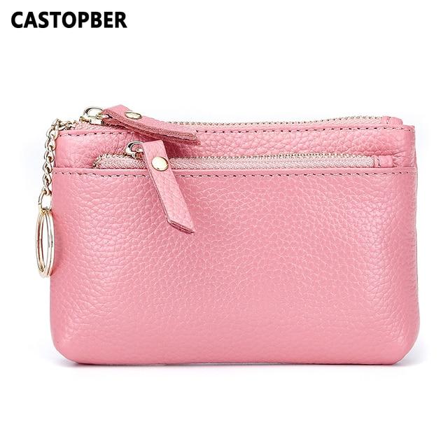 Fashion Designer Women Zipper Mini Coin Purse For Key Money Pouch Genuine Leather Cowhide Key Wallets For Men Unisex Famous Bags