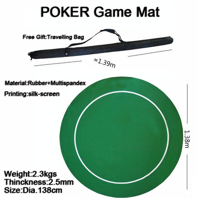 1pc Round Poker Rubber Mat Poker Game Table Top Casino Layout Poker Cloth  Dia.137cm