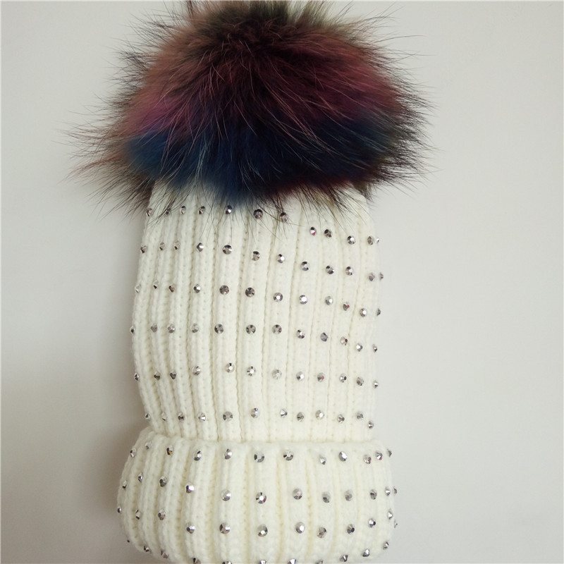 Women Winter Knitted Hats Beanies Caps Colorful Raccoon Fur Ball Pom Pom Warm Hats For Females Fashion casquette touca inverno
