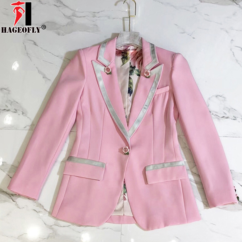 Women Long Sleeve Floral Blazers Outer Jacket Female 1
