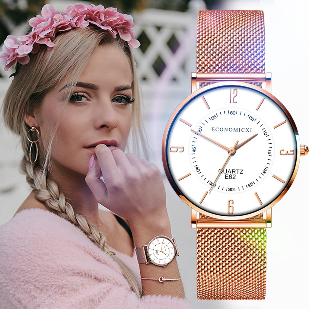 New Ultra-thin Women's Watch Lover's Watch Luxury Saat Rose Gold Mesh Stainless Steel Women's Watches Female Fashion Clock 233