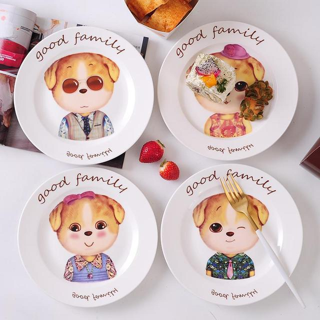 VILEAD Cartoon Cute Dog Breakfast Ceramic Dishes Creative Childrenu0027s Salad Fruit Porcelain Plate Household Utensils Tableware & VILEAD Cartoon Cute Dog Breakfast Ceramic Dishes Creative Childrenu0027s ...