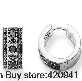 Precio de fábrica venta al por mayor a estrenar de la joyería reparto estupendo syn negro. pendientes de aro Zirconia cr575-051-11 para el regalo estilo europeo
