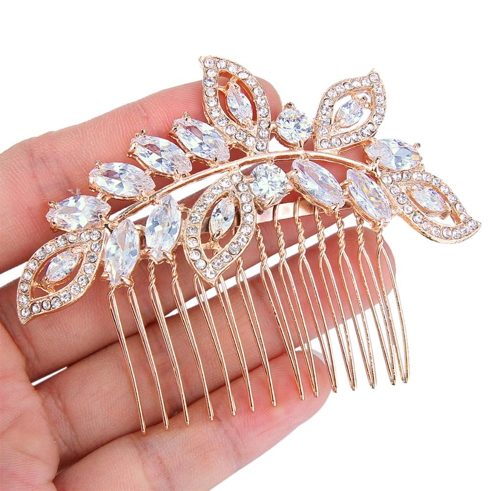Tuliper Bridal Wedding Hair Jewelry Flower Hair Combs Ornament Zircon Hairpins Women Girls Party Hair Pieces Accessories