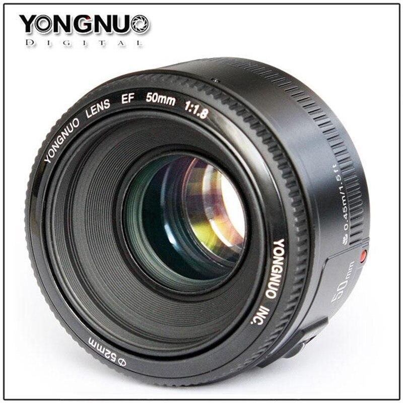 Yongnuo 50mm f/1.8 lente de enfoque automático de gran apertura EF AF/MF YN50mm lente para Canon EOS 600D 550D 70D 700D 1100D 1200D DSLR Cámara