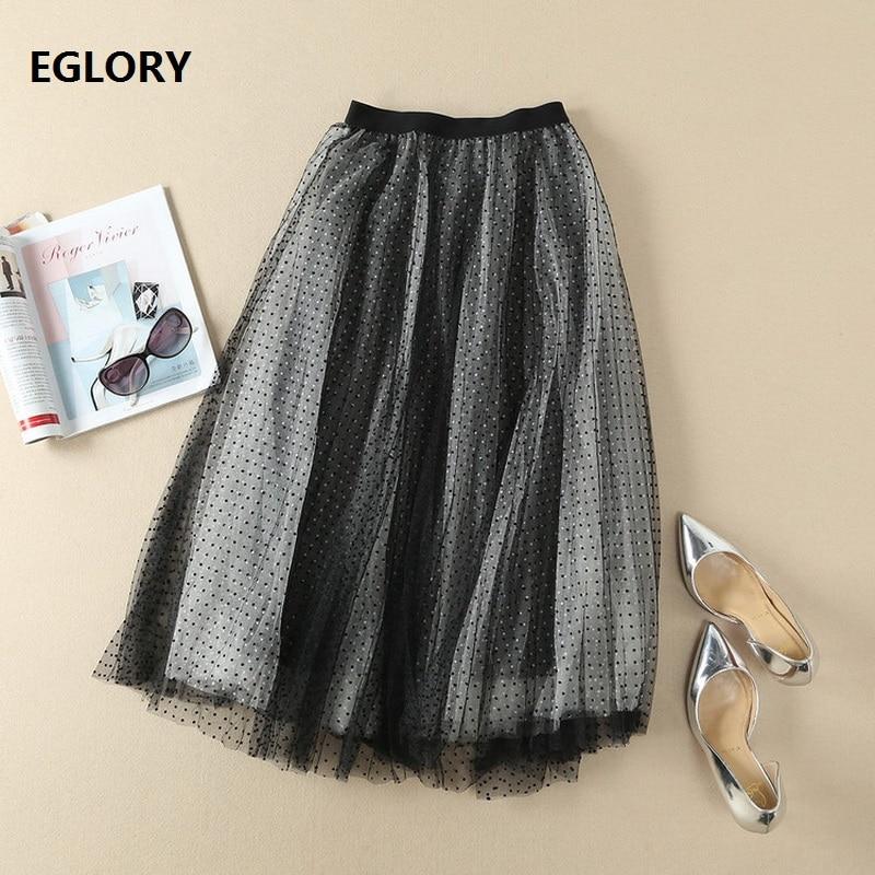 New 2018 Spring Summer Runway Skirt Women Polka Dot Print Bow Waist Elegant Ladies A-Line Mesh Skirt Vintage Retro Tulle Skirts vintage high waist polka dot print ball skirt for women