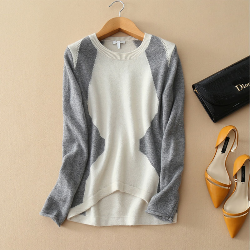 2018 Spring Autumn Knitwear Cashmere Sweaters Pull 100 Pure Cashmere Patchwork Knitted Sweater Irregular Hem Ladies