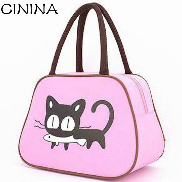 4b41b97e08 2017 Hot Selling Cartoon Kitten Handbag Canvas Casual Shoulder Bag Cat Bag  Little girl handbag Waterproof Mummy Bag
