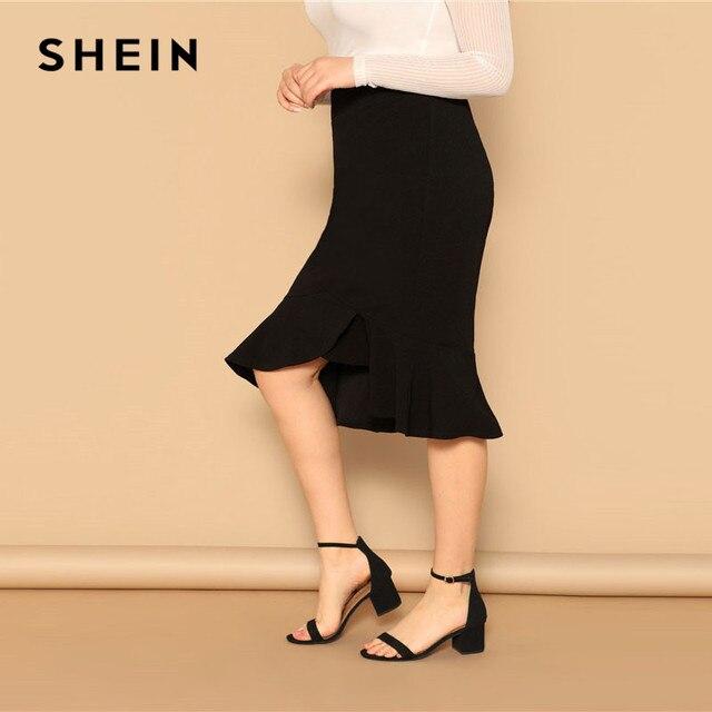 SHEIN Plus Size Asymmetrical Ruffle Hem Black Bodycon Skirt Office Lady Elegant Solid Knee-Length Weekend Casual Pencil Skirts 2