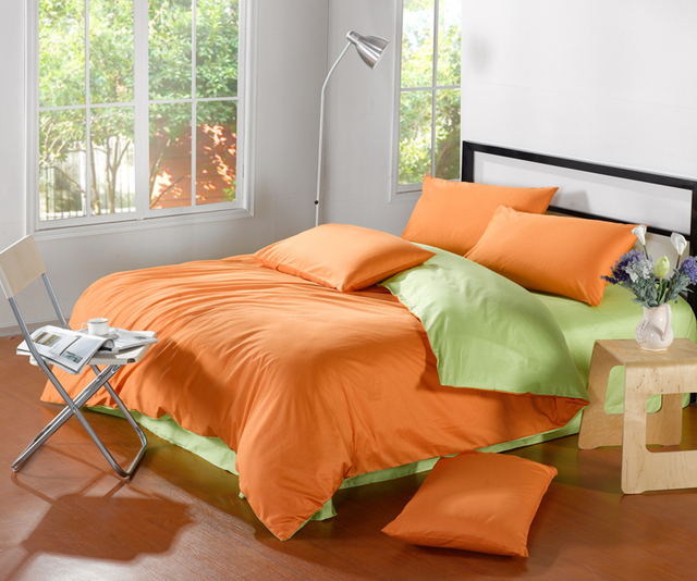 Free Shipping Orange Comforter Queen,king Size Green 4pc Bedding  Sets,duvets,bedspread
