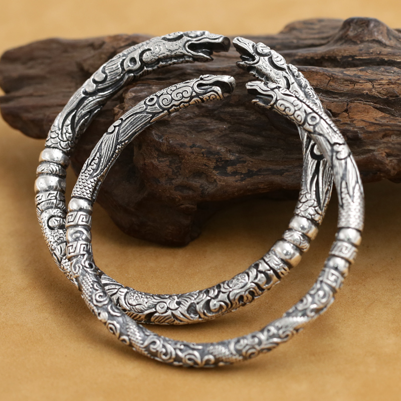 NEW Real 999 Silver Dragon Bangle Vintage 999 Silver Dragpn Bracelet Pure Silver Lovers Bangles