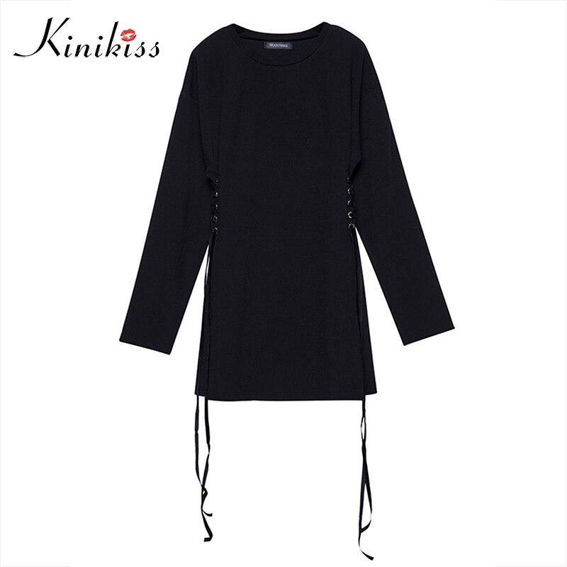 Kinikiss 2017 automne femmes noir patchwork dentelle-up à manches longues une ligne parti robe street style mode printemps casual femmes robe