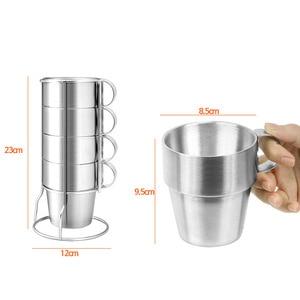 Image 4 - BPA ฟรี 300ML Double Wall สแตนเลสสตีลแก้วกาแฟท่องเที่ยวกีฬากลางแจ้งแบบพกพาแม่เหล็กน้ำถ้วยเบียร์ 4 ชิ้นชุด