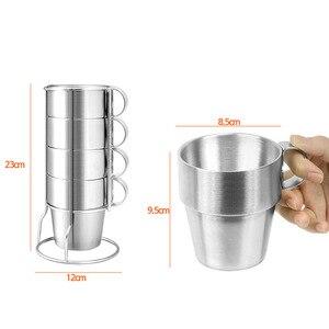 Image 4 - Bpa livre 300 ml dupla parede de aço inoxidável café caneca viagem esportes ao ar livre portátil não magnético copo cerveja água 4 peças no conjunto