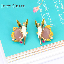 Sweden Classic Design Romantic Cristal Enamel Glaze Angel Wings Fairy Gold 925 Sterling Silver Needle Ear Nail For Girls(China)