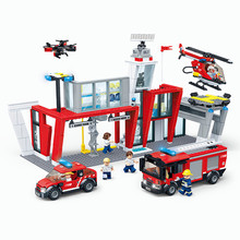 New City Marine Rescue Operation Fire Station Building Blocks Sets Bricks Educational Toys For Children gift все цены