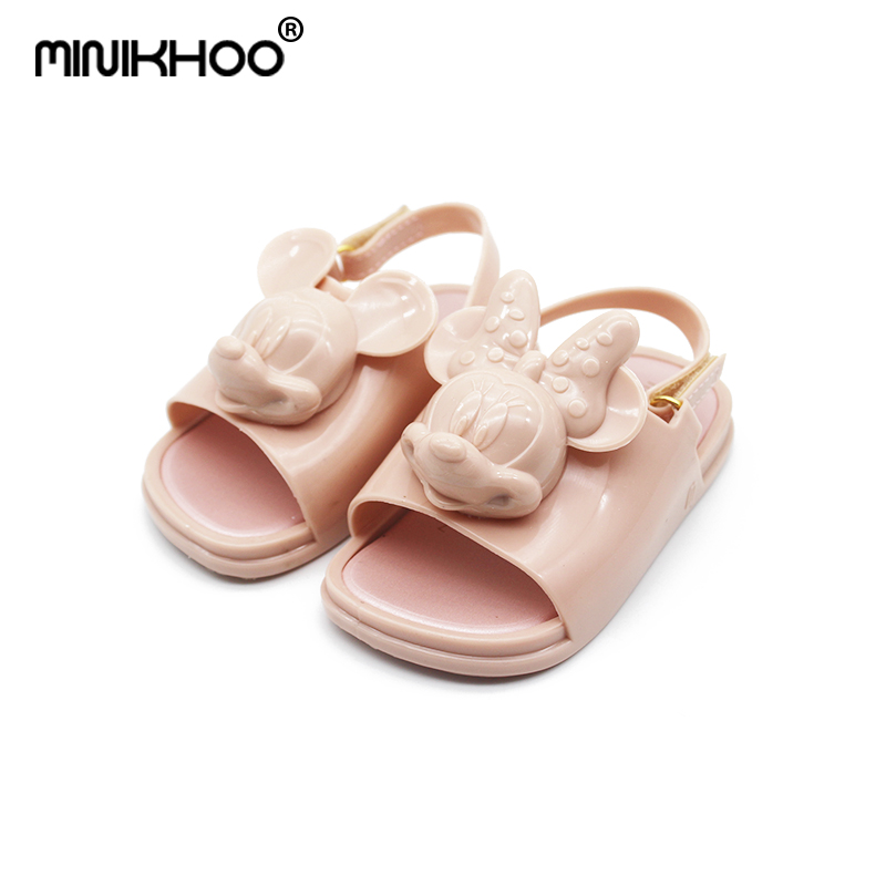 Mini Melissa 2018 3D Mickey & Minnie Jelly Shoes Girls Sandals Soft Comfort Toddler Sandals Melissa Girl Sandals Beach Sandals