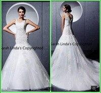 Высокое качество белого кружева русалка свадебные платья 2017 мода scoop декольте суд поезд аппликации свадебные платья