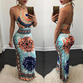 2017 elegante fora do ombro floral print dress mulheres de slim dividir backless longo dress halter mangas sexy vestidos de festa do clube