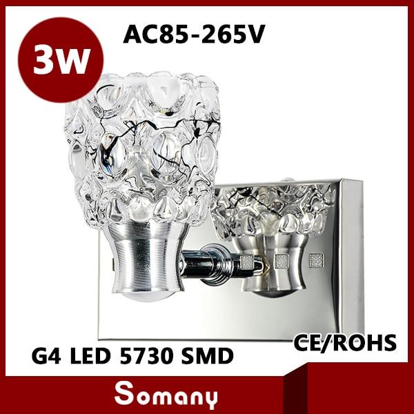 ФОТО 2pcs New 2014 Modern Crystal Abajur Led Bedside Lamp AC85-265V Stainless Steel 3W Wall Led Light Aisle Lamp CE&ROHS Decor Sconce