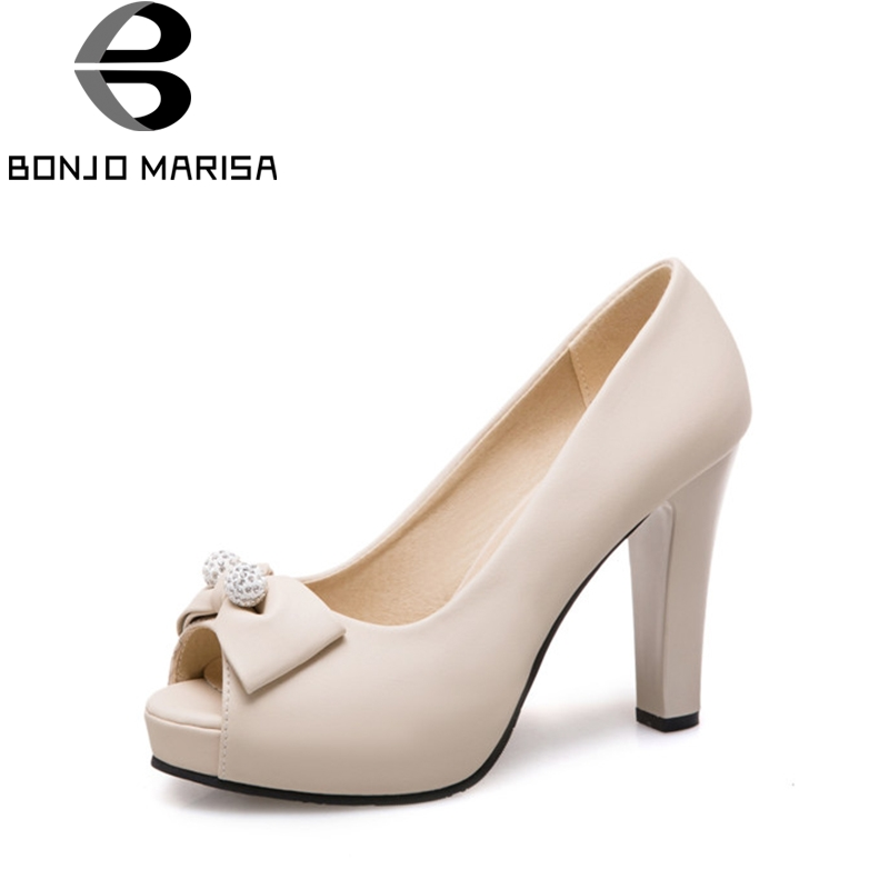 BONJOMARISA 2018 Spring Autumn Bowtie Party Wedding Shoes Woman New High Heels Open Toe Platform Pumps Big Size 32-43 new arrival spring and autumn red pearl wedding shoe up heel platform shoes woman party shoes luxury handmade shoes size 34 39