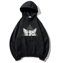 Men Hoodies Sweatshirts 2019 Autumn Winter 3D Cat Print Fashion Cotton Black Hoodie Women Cool Loose Hoodie Men Plus Size S-4XL plus size cat print hoodie with ears