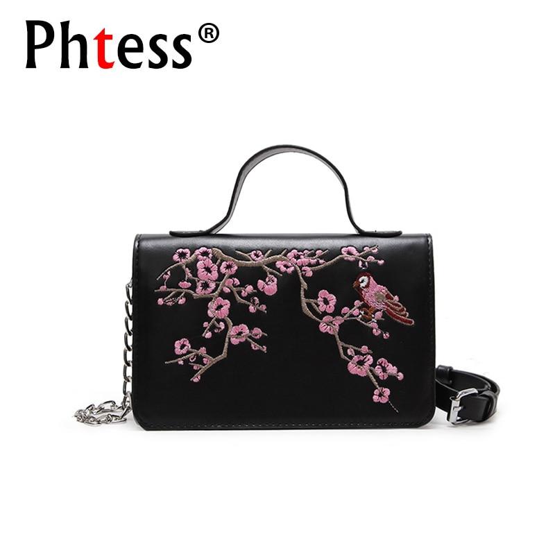2018 Для женщин вышивка цветы Курьерские сумки для девочек Sac основной небольшой лоскут кожа сумки на ремне женские цветочные мини Сумки
