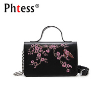 2018 Women Embroidery Flowers Messenger Bags For Girls Sac A Main Small Flap Leather Shoulder Bags