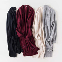 Кашемировый шерстяной смешанной вязки женский модный кружевной соединенный Средний длинный кардиган, свитер, пальто нестандартной длины с