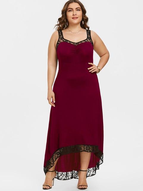 US $12.74 49% OFF|Gamiss Plus Size High Low Maxi Dress Women Sleeveless  Black White Elegant Evening Party Long Dresses Floor Length Robe  Vestidos-in ...