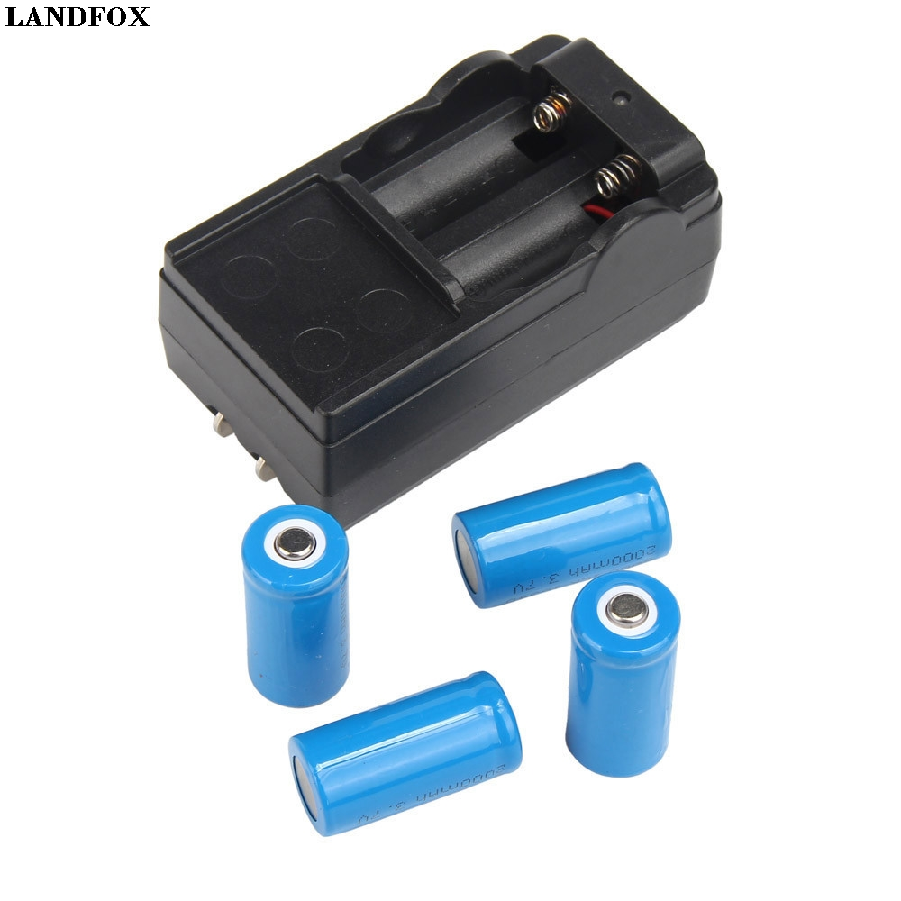 LANDFOX 4x 2000mAh 16340 Rechargeable Li-ion Battery For LED Flashlight+CR123A Charger Drop Shipping since cr123a battery charger