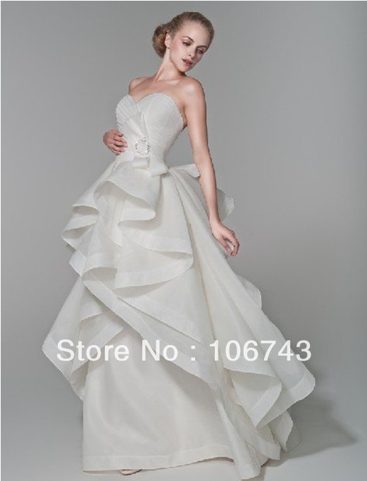 free shipping 2015 new style Sexy sweetheart brides weddings party Custom bow tiered princess ruffles a-line long   prom     dresses