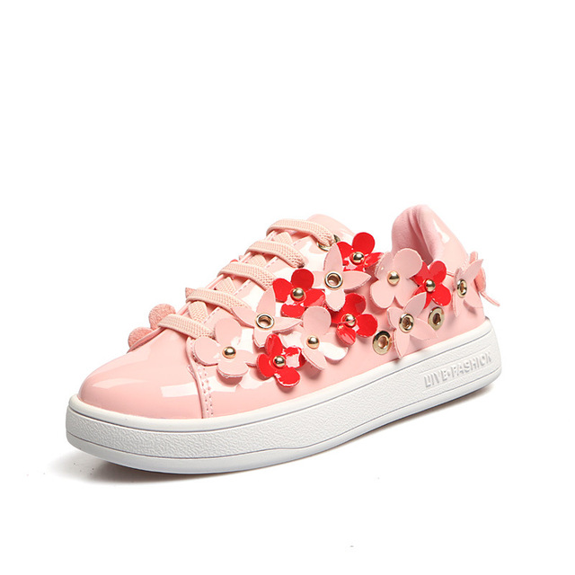Fashion girls shoes flowers students shoes kids sneakers baby white shoes rivet casual shoes pink black tenis infantil eur 26 37 in sneakers from fashion girls shoes flowers students shoes kids sneakers baby white shoes rivet casual shoes pink black might
