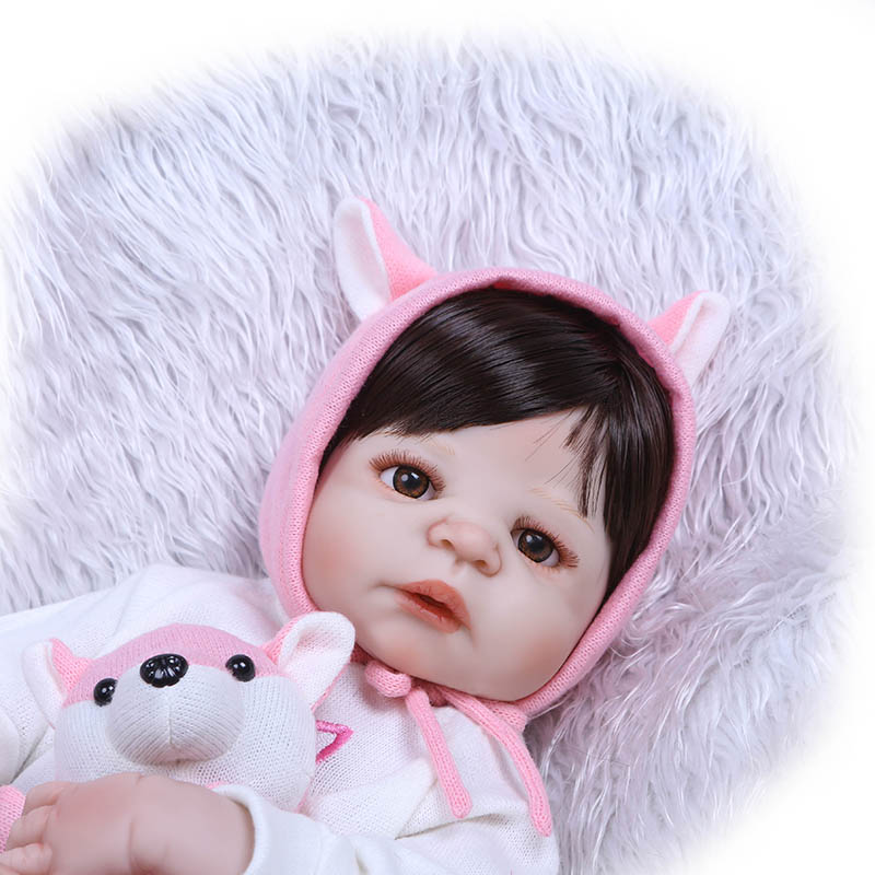 56CM Reborn Doll Toy Full Body Silicone 3D Lifelike Jointed Newborn Doll Gift Playmate NSV775 56cm baby reborn doll full body silicone 3d lifelike jointed newborn doll playmate gift bm88
