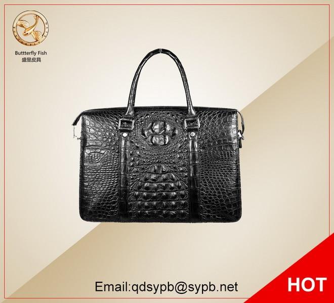 Butterfly Fish Men Crocodile Genuine Leather Handbag Business Man's Briefcase Fashion Stylish regem men briefcase fashion business genuine leather the crocodile grain