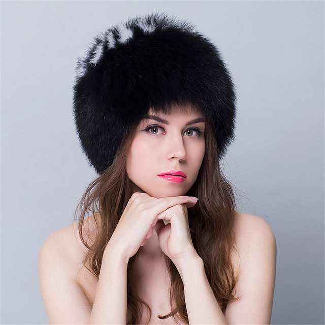 Real Fur Hats For Women Winter Womens Fur Russian Hat And Caps Round Tops Fur For Girls Natural New Bombers Russia Hats