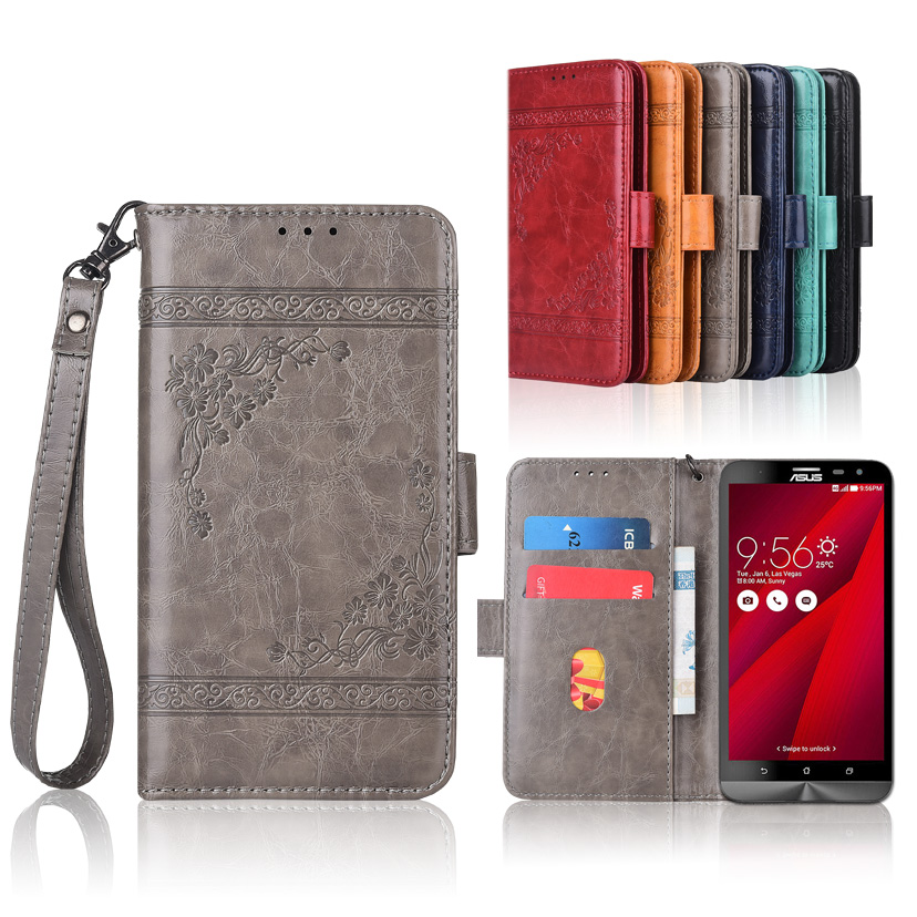 Wallet case for ASUS ZenFone 2 Laser ZE600KL ZE601KL Flip case with Strap,100% special PU leather embossing flower book case