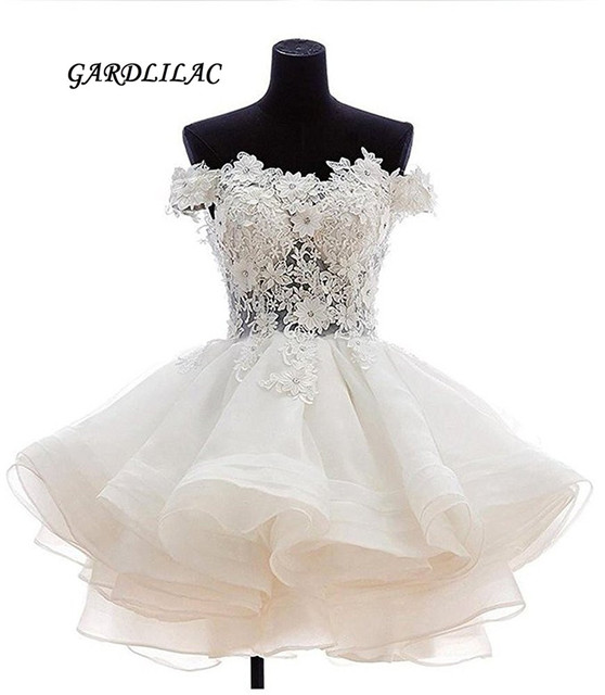Hot Sale Real Mini Short Homecoming Dresses 2017 Short Sleeves Hand Made Flowers Organza Short Prom dresses Party Gowns