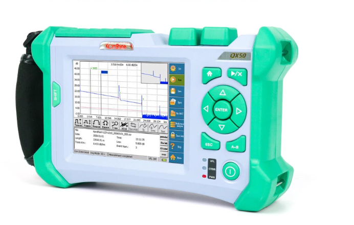 1625nm GPON OTDR KOMSHINE QX50-P2 PON OTDR Power Meter Tester 1310/1550+1625nm 32/30/28dB Fiber Optic PON FTTH OTDR