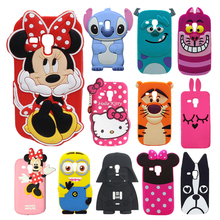 Soft Silicone Minnie Stitch Hello Kitty Minions Zebra Dog 3D Cartoon Case For Samsung Galaxy S3 Mini i8190 Back Cover Capa Para