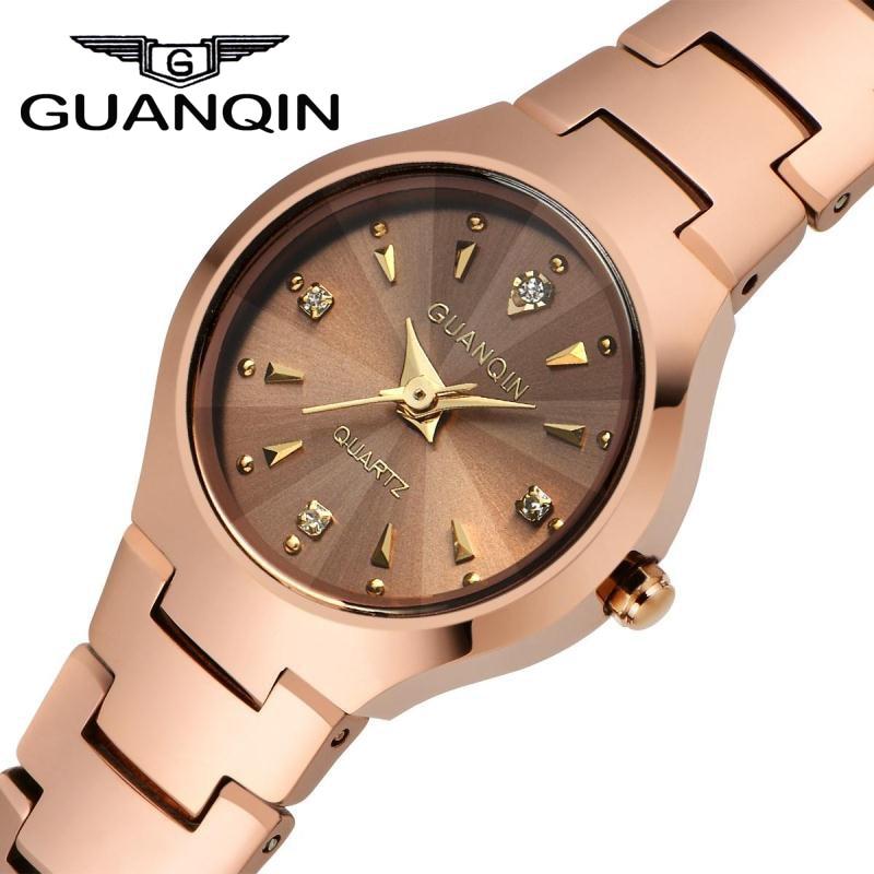 ФОТО Women Watches 2016 GUANQIN Tungsten Steel Waterproof Quartz Watch Luxury Women Brand Fashion Watches Relogio Feminino