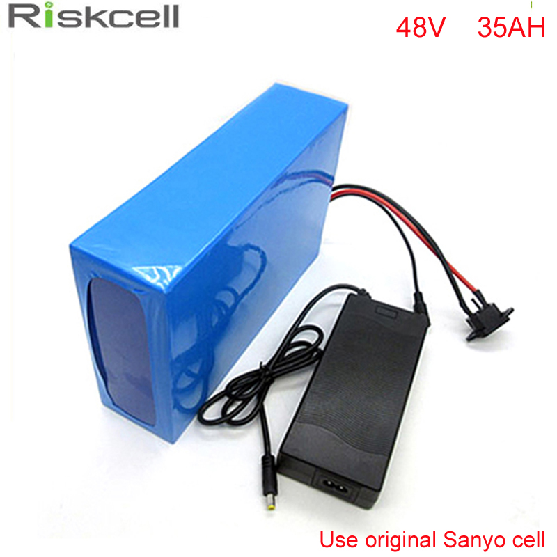 Free customs taxes  DIY 48 volt 2000w Sanyo cell li-ion battery pack with fast charger and 30A BMS 48v 35ah lithium battery pack free customs taxes 1000w motor electric bike lithium ion battery 48v 25ah with 54 6v charger and bms factory price great quality